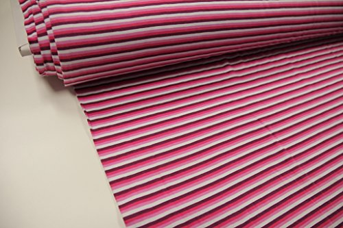 Lila Rosa Streifen (Stoff / Meterware / ab 25cm / beste Jersey-Qualität / Jersey Streifen lila, pink, rosa, weiß (KH))