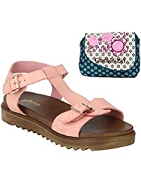 Estatos Faux Leather Open Toe T Strap Buckle Closure Brown Platform Heel Baby Pink Sandals With Blue Printed Clutch...