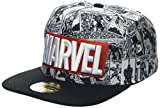 Marvel Comics Logo and Comic Pattern Snapback Baseball Cap Gorra de béisbol, Grey, Talla Única Unisex Adulto