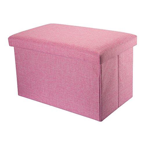 Intirilife – 49 x 30 x 30 cm Sitzhocker Aufbewahrungs-Box aus Stoff in Leinen-Optik und Dekopappe Faltbox Ordnungsbox Kiste mit Deckel in...