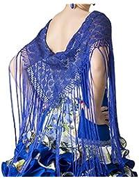 35428bd412a ANUKA Mantón de encaje con flecos largos para la danza flamenco o sevillanas