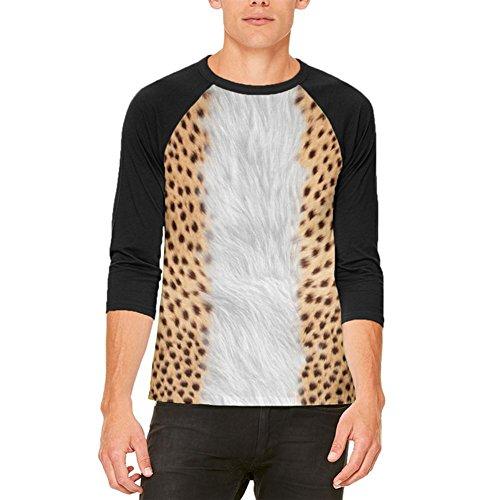 Halloween Cheetah Kostüm Herren Raglan T Shirt weiß-schwarz X-LG