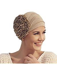 Turbante Aimée dorado en lino con adorno de hilo en forma de flor