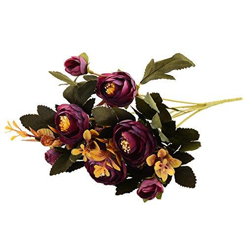 (MingXiao Hot Purple Herbst Künstliche Gefälschte Pfingstrose Blume Hochzeit Hydrangea Decor Gefälschte Herbst Lebendige Pfingstrose Gefälschte Blatt 28 cm / 10,92''Lenth)