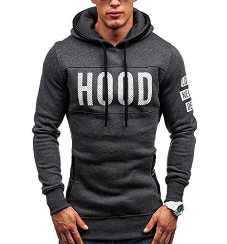Rcool Männer schlanke Hoodie warmer Pullover Baumwolle Kapuzenpullover drucken Sweatshirt Pulli mit Kapuze Wintermantel Outwear Tops (XL, Dunkelgrau)