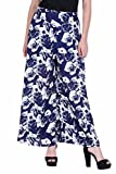 Deewa Women's Palazzo Pants DWP107B-M, Blue and White, Medium