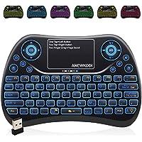 Mini Tastatur Wireless mit Touchpad , Smart TV Tastatur Fernbedienung, 2.4 GHz Wireless Backlit QWERTZ Mini Tastatur Beleuchtet für HTPC,IPTV,Android TV-Box,XBOX360,PS3,PC(2019 Aktualisierte Version)