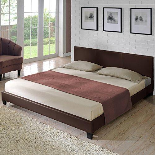 Corium Polsterbett Barcelona (Dunkelbraun)(180x200cm) Modernes Bett/Doppelbett / Ehebett/Kunst-Leder/mit Stecklattenrost /