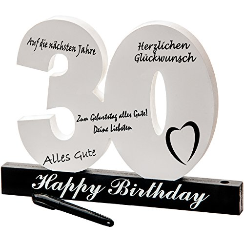 18. 30. 40. 50. Geburtstag individuelles Gästebuch Geburtstagszahl zum Beschriften, alle Gäste verewigen sich auf der Party (30.)