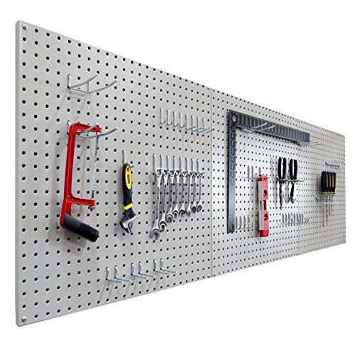 Seville Classics UHD20224 Werkzeug Lochwand mit 46 Haken, Metall pulverbeschichtet, 3-teilig, 182,9 x 60,9 cm, grau - 4