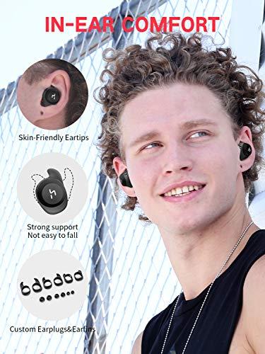 HAVIT TWS Bluetooth Kopfhörer Kabellose in Ear V5.0, True Wirelss Stereo Sport Ohrhörer, IPX5 Wasserdicht, 18 Stunden Abspielzeit, Eingebautes Mikrofon für iPhone,Samsung und Huawei, HTC,G1 Schwarz - 4