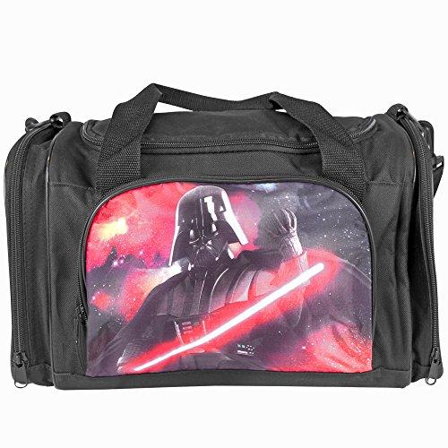 PERLETTI 13805 Bolso Deportivo Niño Star Wars - Bolsa Deporte Infantil de Darth Vader para Gimnasio Viajes Escuela - La Guerra de las Galaxias - Negro Rojo - 25x22x38 cm