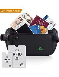Cinturón de viaje para dinero - Riñonera Running Interior Discreta - Bolsa De Viaje Oculta con bloqueo de RFID - Cartera Cinturón para Hombres y Mujeres - Ideal para viajes