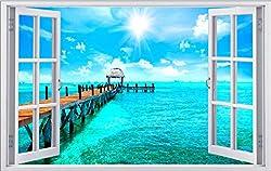 Steg am Meer Sommer Karibik Wandtattoo Wandsticker Wandaufkleber F1246 Größe 70 cm x 110 cm