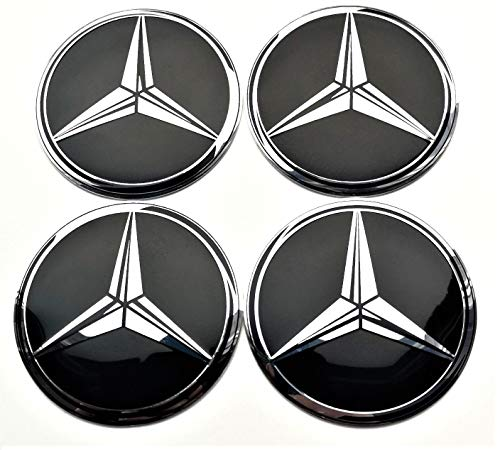 Satz von 4 Rad mitte kappen aufkleber 65 mm selbstklebendes gewölbt MercedesBenz Emblem nabendeckel felgenkappen