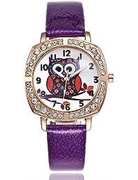 Coconano Relojes Mujer Baratos, Búho Lindo Moda Mujer Banda de Cuero de Cuarzo Analógico Reloj