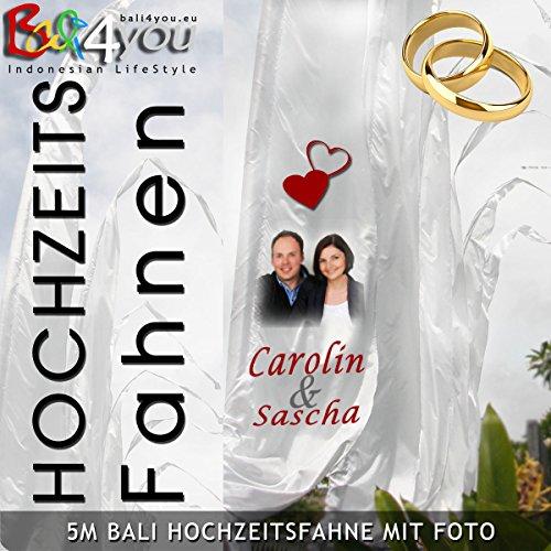 5m Bali Hochzeits Fahne mit Foto individuell bedruckbar