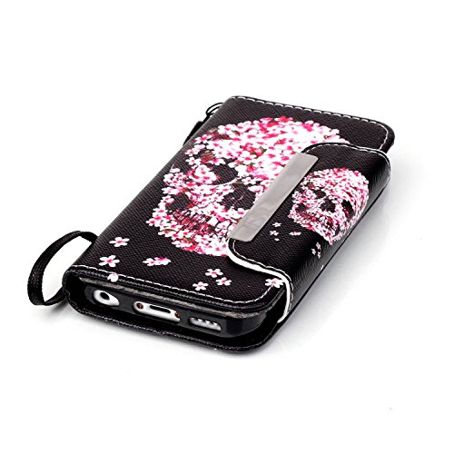 Etsue Lanyard/Strap für iPhone 5C [Strass Steinen] Lederhülle Wallet Ledertasche Case Muster, Bunte Retro Painted Bookstyle Brieftasche Hülle Flip Cover Leder Tasche Wallet Case Handyhülle mit Standfu Kirschbaum Schädel