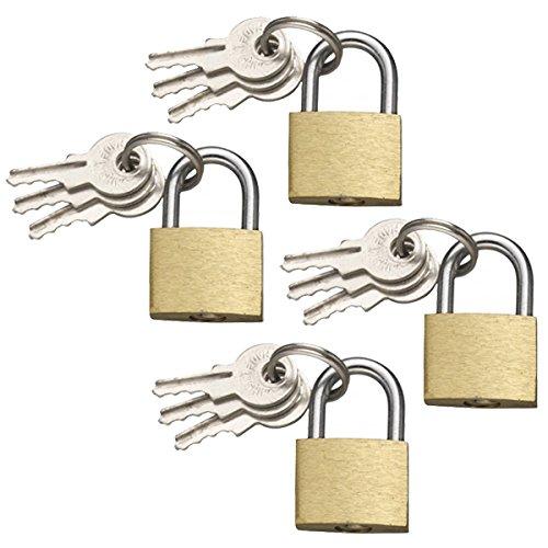 COM-FOUR® 4x Vorhängeschloss aus Messing, 20mm, mit 3 Schlüsseln