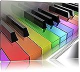 Piano Rainbow Colours Bunte Klaviertasten Format: 60x40 cm auf Leinwand, XXL riesige Bilder fertig gerahmt mit Keilrahmen, Kunstdruck auf Wandbild mit Rahmen, günstiger als Gemälde oder Ölbild, kein Poster oder Plakat
