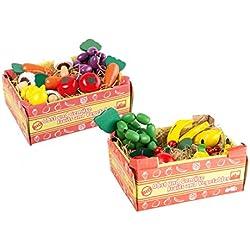 Stiegen mit Obst und Gemüse aus Holz, passend zum Kaufmannsladen, für realistischen Spielspaß am Verkaufsstand, 22-teiliges Set für Kinder ab 3 Jahre
