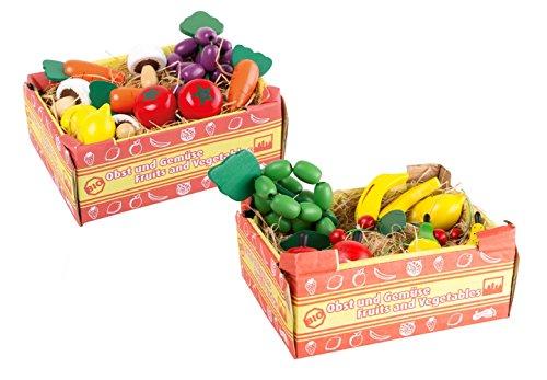 *Stiegen mit Obst und Gemüse aus Holz, passend zum Kaufmannsladen, für realistischen Spielspaß am Verkaufsstand, 22-teiliges Set für Kinder ab 3 Jahre*