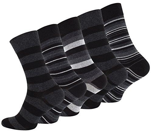 VCA 10 Paar Herren Baumwoll Socken COMFORT Herrensocken verschiedene Modelle (43-46, Street Dunkel Ringel (2105))