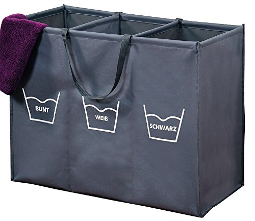 Best-Accessoires4All Wäschesortierer Wäschekorb Wäschesammler Wäschebox Trio 150 Liter (3 x 50 Liter) 3 Fächer zum Vorsortieren Sortieren der Wäsche nach Wasch-Temperatur oder Farbe