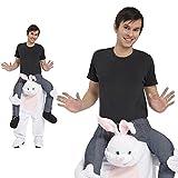 Monster Weißes Häschen Huckepack Kostüm Unisex Erwachsene Einheitsgröße Karneval Hase Piggyback 50004