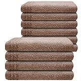 Gallant 10 tlg Set Gästehandtücher beige 10 Gästetücher 30 x 50 cm 100% Baumwolle Qualität 565 g/m saugfähige Frottee Qualität