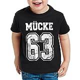 CottonCloud Mücke 63 T-Shirt für Kinder Bulldozer Film Star Movie, Farbe:Schwarz, Größe:128