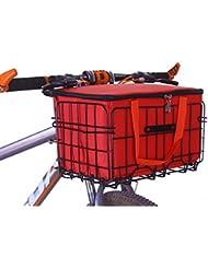 Cesta de la cesta funcional cesta de la bicicleta delantera plegable con bolsa interior de color rojo