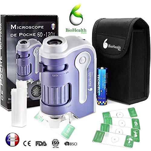 Mikroskop [Neues Modell 2019] 60 - 120 x, Taschen-Mikroskop,neues System für Asphische Linsen für Lernen und Erkundungen des kleinen Kindes. New Ultraviolet UV-LED-Lichtsystem ...