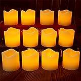 LAPROBING 12 Led Flammenlose Wachs Kerzen mit timer, 6 Stunden an und 18 Stunden aus, Dia 5cm and H 5cm Elektrische Flackernde Batteriebetriebene Teelichter, Led Votivkerzen Gelb, warme weiße [Energieklasse A+]