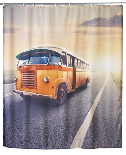 Wenko 21584100 Anti-Schimmel Duschvorhang Vintage Bus - waschbar, 100% Polyester, Mehrfarbig