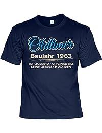 sabuy T-Shirt - Oldtimer Baujahr 1963 Top Zustand - Originalteile Navy - Geschenk 55. Geburtstag Shirt Jahrgang Spruch Humor Fun