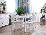 Beliani Stuhl Holz weiß 2er Set im Landhausstil Holzstühle Burbank