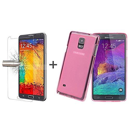 TBOC® Pack: Rosa Gel TPU Hülle + Hartglas Schutzfolie für Samsung Galaxy Note 4 N9100. Ultradünn Flexibel Silikonhülle. Panzerglas Displayschutz in Kristallklar in Premium Qualität.
