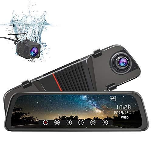 junsun Spiegel Dashcam vorne und hinten, 25,4 cm (10 Zoll) Touchscreen, Vorderseite 1080P, Rücksicht, 1080P, Dual Linse, 170 Grad Weitwinkel, mit Rückfahrkamera, G-Sensor, Parkmonitor, Nachtsicht
