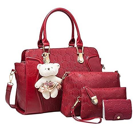 Azbro Women's 4 Pieces PU Leather Shoulder Handbag Purse Bag, Burgundy One Size
