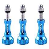 Smatree 3pcs Long Alumunium Thumbscrew for Gopro 5/4/3+/3/2/1, (Blue)