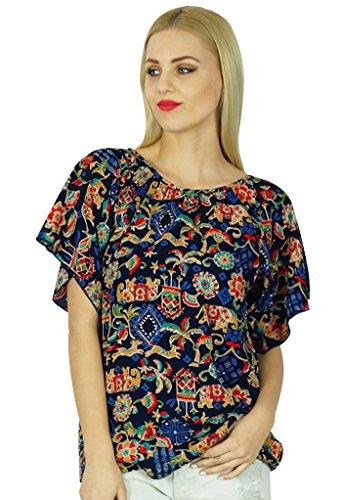 Bimba femmes Kimon Sleeve Printed Top court Rayon Blouse Casual Boho Vêtements Multicolore