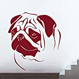 Decor Kafe 'Pug' Wall Sticker (PVC Vinyl Film, 71.11 cm x 78.73 cm x 0.99 cm, Burgandy)