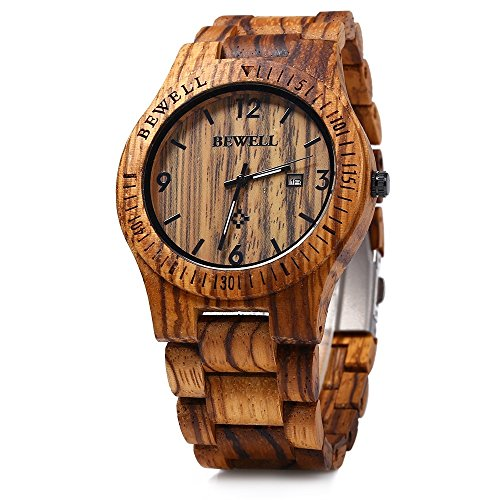 Image of GBlife BEWELL ZS - W086B Mens Wooden Watch Analog Quartz Movement with Date Display Retro Style
