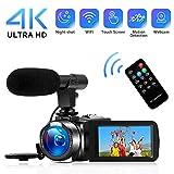"""Videocamera 4K Videocamere Digitale WiFi con Microfono Full HD 1080P 30FPS 3""""Videocamera Vlog Touch Screen HD per YouTube con Visione Notturna IR e Telecomando"""