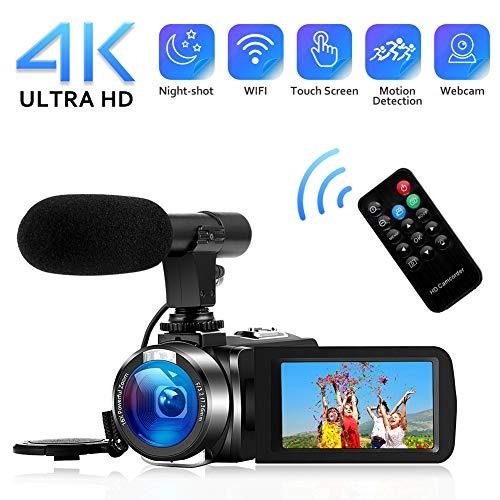 Videocamera 4k videocamere digitale wifi con microfono full hd 1080p 30fps 3