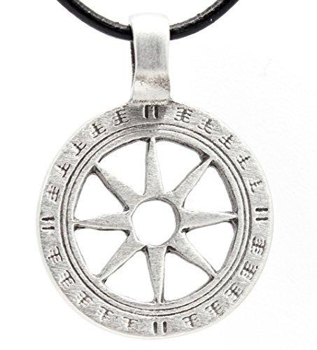 Trilogy Jewelry Zinn Rad von Leben tibetischen Buddha Yoga Namaste Meditation Anhänger auf Leder Halskette