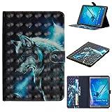 SZHTSWU Schutzhülle für Samsung Galaxy Tab S2 T815N/T810N (9,7 Zoll), 3D Gemalt Design Flip Case PU Leder Tasche Tablette mit Kartenfächern und Ständerfunktion Wallet Hülle, Wolf