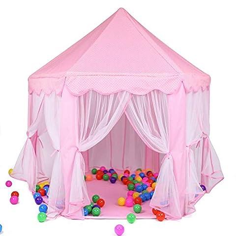 Enfants Princesse Pop Up Chateau, GIM Tente de Jeu pour Enfants pour Filles Grande Maison de Jouet Tente Pop Up de Princesse, Rose