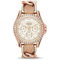 FOSSIL Montre Riley femme / Élégante montre-bracelet rose doré - Fin bracelet en cuir ivoire et acier inoxydable - Boîte de rangement et pile incluses